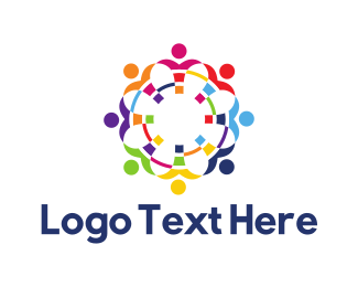Community Center - Colorful Group of People logo design