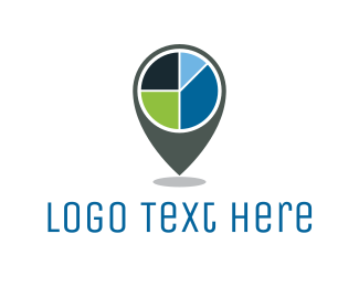 Vc - Pie Chart Location logo design