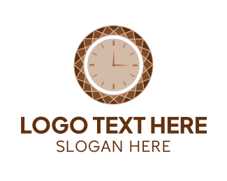 Timeless - Brown Diamond Clock logo design