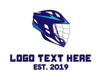 Headgear - Blue Lacrosse Helmet  logo design