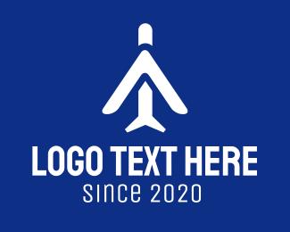 Dark Blue - Abstract Blue Plane logo design