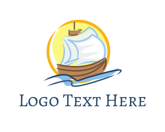 Exploration - Wood Sailboat logo design
