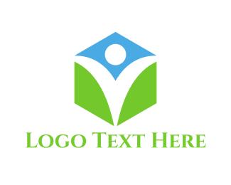 Person - Healthy Hexagon logo design
