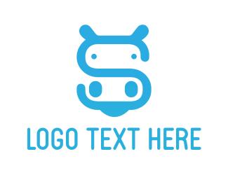 Hippopotamus - Hippo Letter S logo design
