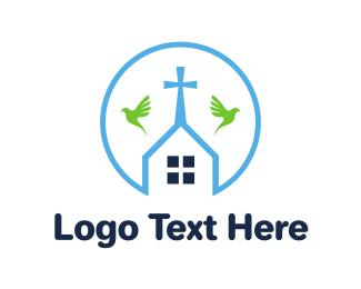 Christianity - Round Chapel Outline logo design