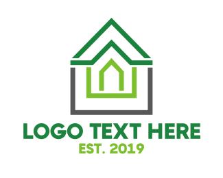 Rent - Green Roof Outline logo design