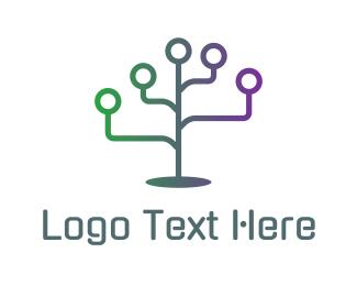 Corporation - Computer Grid Plant logo design