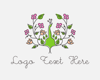 Wedding - Peacock Flower logo design