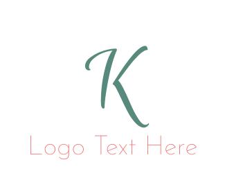 """Elegant Turquoise Letter K"" by BrandCrowd"
