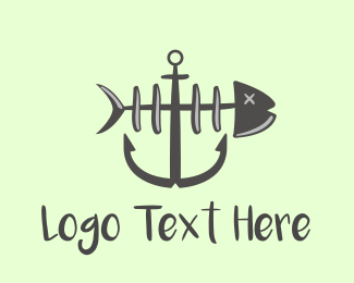 Sea - Fish Anchor logo design