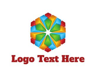 3d - Crystal Flower logo design