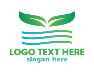 Massage - Green Leaf Wave logo design