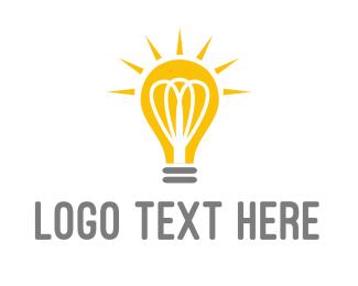 Glow - Bright Yellow Light Bulb logo design