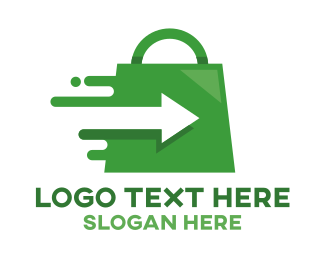 Shop - Green Fast Shopping logo design