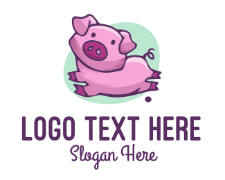 Pork - Cute Pink Pig logo design