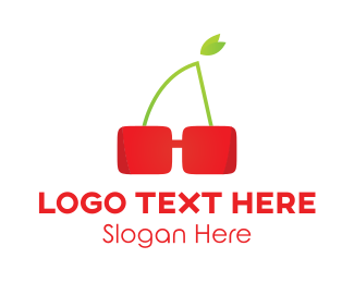 Green And Red - Cherry Glasses logo design