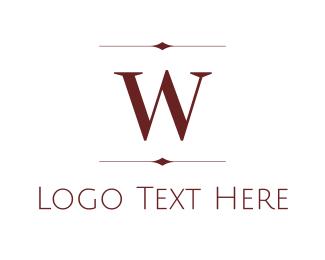 Hotel - Maroon W logo design
