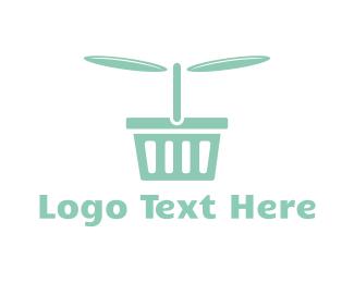 Supermarket - Flying Basket logo design