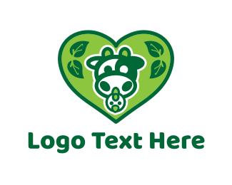 Cow - Green Organic Heart logo design