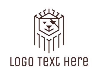 Line Art - Black Pirate Lion logo design