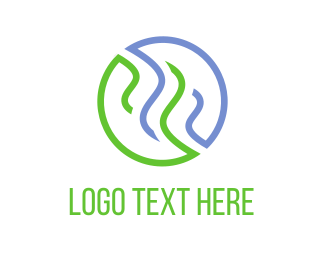 Steam - Blue & Green Steam  logo design