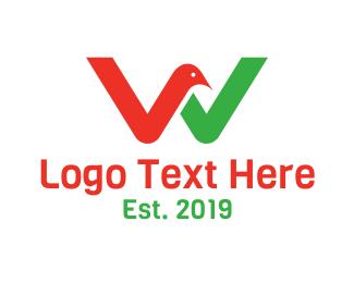 Letter W - Bird Letter W logo design