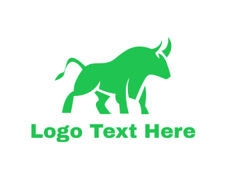 Oxen - Green Abstract Bull logo design