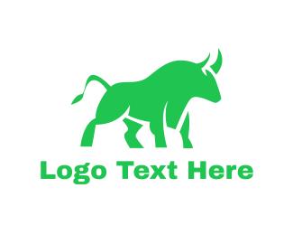 Branding - Green Abstract Bull logo design