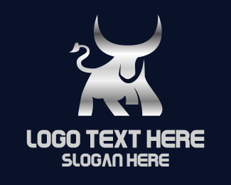 Chrome - Silver Horn Bull logo design