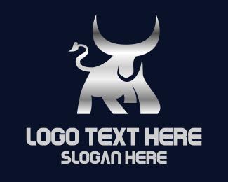 Ox - Silver Horn Bull logo design