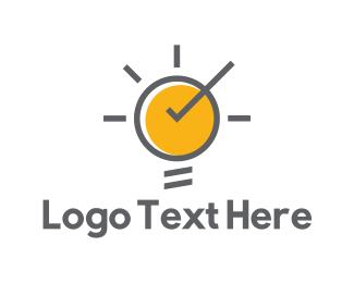 Tick - Sun Bulb logo design