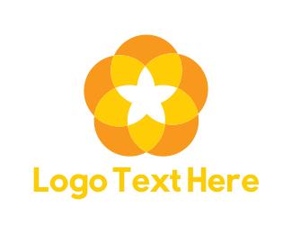 Orange And Yellow - Yellow Flower logo design