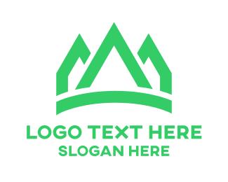 Green - Green Peaks Crown logo design