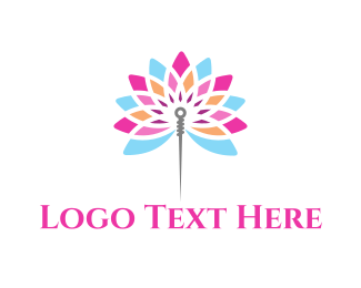 Sew - Needle Flower logo design