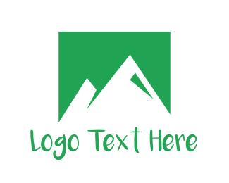 Alpine - Abstract Green Mountains logo design