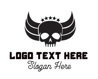Tattoo - Skull Wings logo design