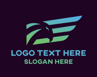 Airline - Gradient Wing Hawk logo design