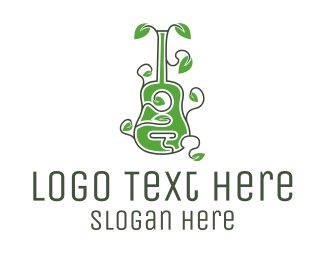 Vine - Leaves & Guitar logo design