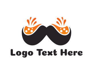 Black And Orange - Orange Moustache logo design