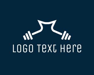 Gym - Dumbbell Letter M logo design