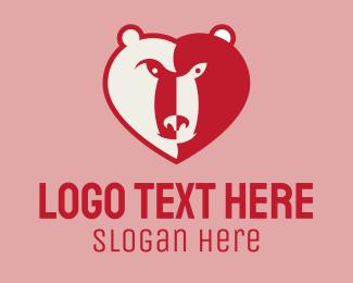 Friendly - Heart Bear logo design
