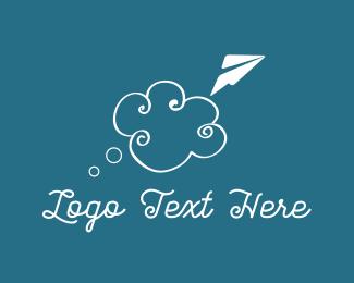 Paper Plane - Cloud & Plane logo design