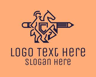 Publisher - Gladiator Pencil Outline logo design