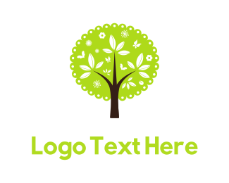 Butterfly - Cute Green Tree logo design
