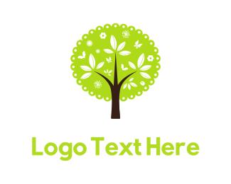 Garden - Cute Green Tree logo design