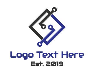 Motherboard - Tech Letter S logo design