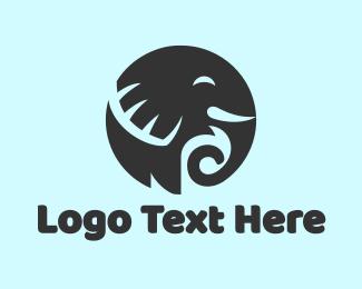 Tusk - Black Round Elephant logo design