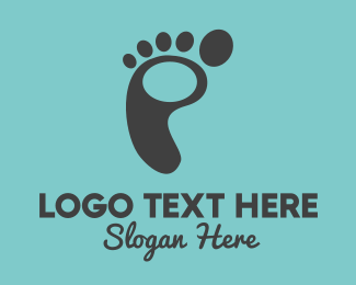 Heel - Black Footprint logo design