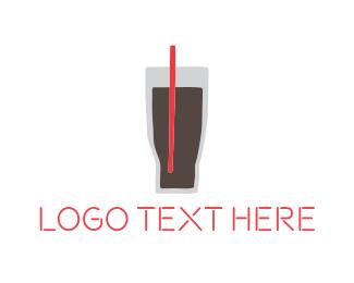 Iced Coffee - Black Drink logo design