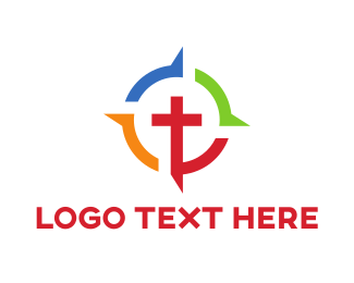 Crucifix - Colorful Crucifix logo design